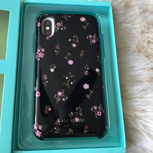 Kate spade iPhone X hard shell case black floral